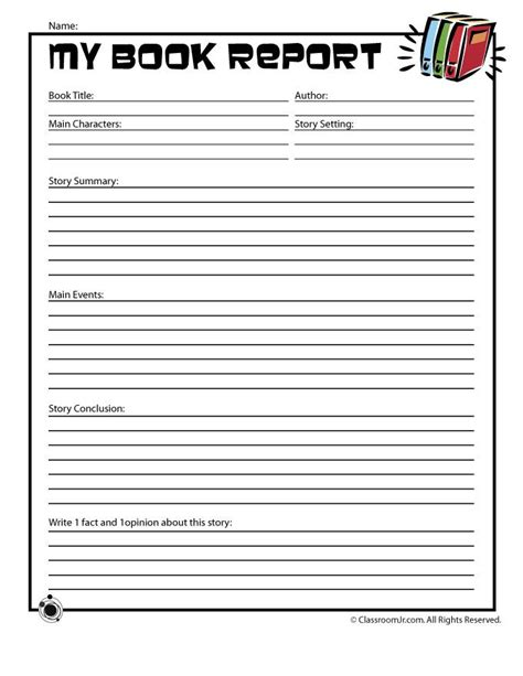 book report forms for grade book report worksheets for grade book reports 1st
