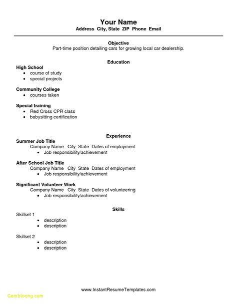 resume examples for jobs with little experience resume without job