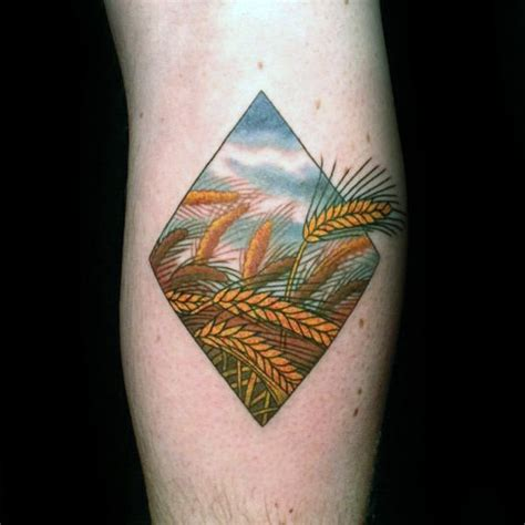 farming tattoos 50 wheat designs for cool crop ink ideas