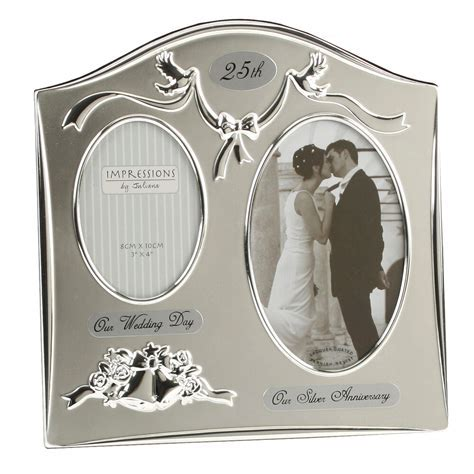 25th Silver Wedding Anniversary Silver Plated Double Photo