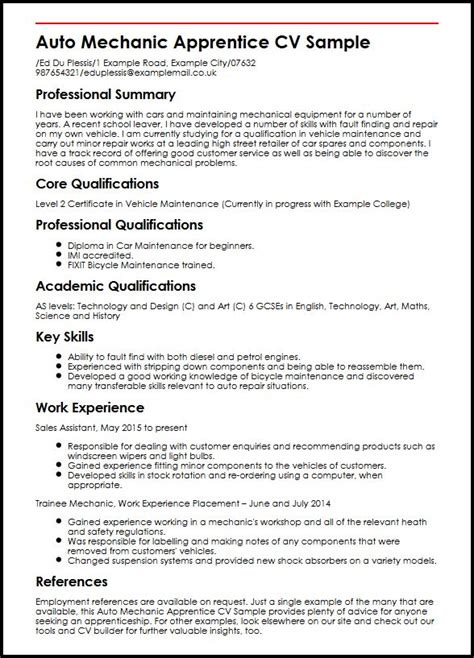 cv exle language auto mechanic apprentice cv sle myperfectcv