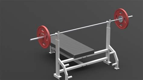 chest bench press price chest press bench press barbell gym 3d model sldprt sldasm