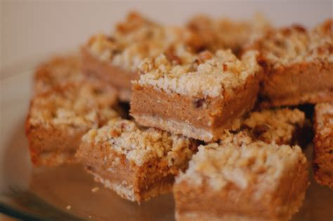 pumpkin bars with streusel topping pumpkin cheesecake bars with walnut streusel but i m hungry