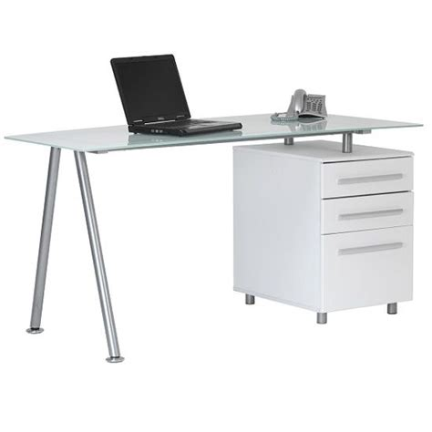 Buy Glass Computer Desk Vilnius Glass Computer Table In Frosted With Integral Pedestal Buy Modern Computer Desk