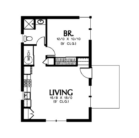 Floor Plans Narrow Lot by Modern Style House Plan 1 Beds 1 Baths 600 Sq Ft Plan