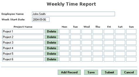 exle weekly time report
