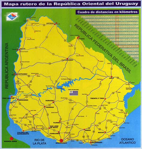 uruguay on the world map large scale road map of uruguay uruguay south america