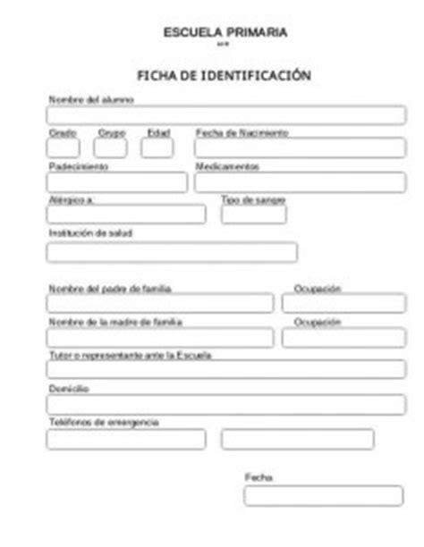 Ficha de identificación para alumnos | Educación Primaria