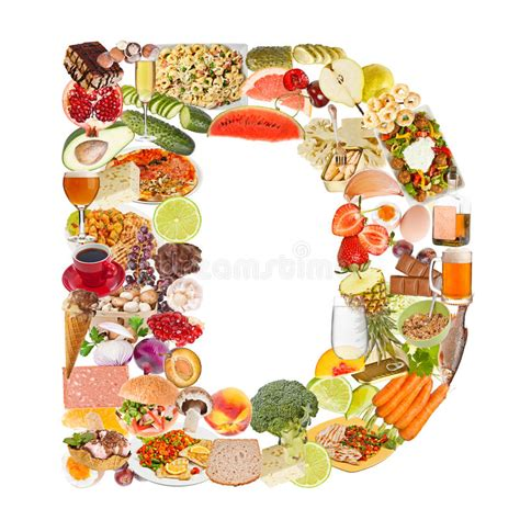 up letter with food letter d made of food stock image image of course