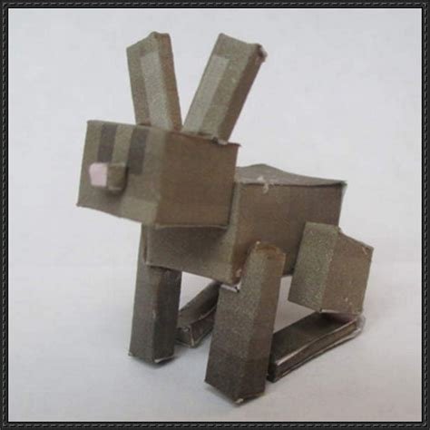 Paper Craft Square - minecraft papercraft brown rabbit free template