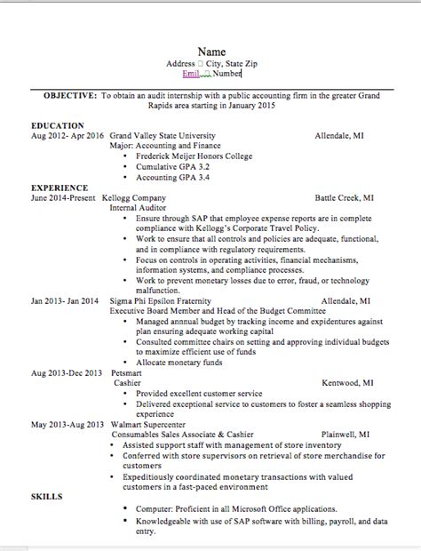 Sample Of One Page Resume by Resume Help Accounting