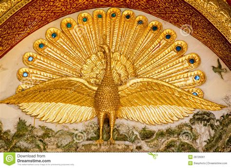 Wall Map Mural peacock detail buddhist temple stock image image 28726061