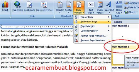 cara memberi nomor halaman romawi dan angka cara membuat halaman makalah nomor halaman makalah