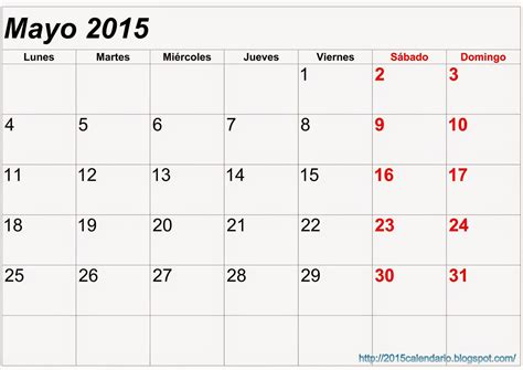 Calendario Mayo 2015 Calendario Mayo 2015 Para Imprimir Calendario 2015 Para