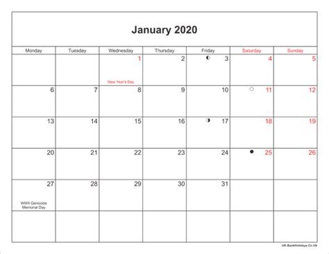 january  calendar printable  bank holidays uk