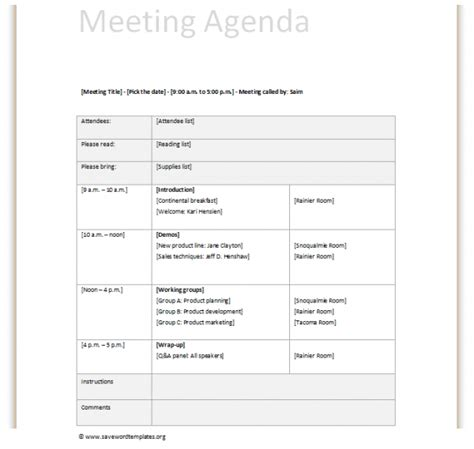 school team meeting agenda template printable meeting agenda template exle with title and