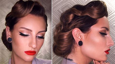 Vintage Hair Updo by 50 S Inspired Vintage Updo Hairstyle Tutorial