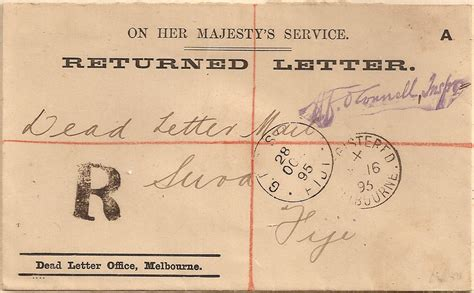 Dead Letter Office Australia 1895 australia dead letter office melbourne returned