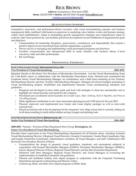 assistant visual merchandiser sle resume