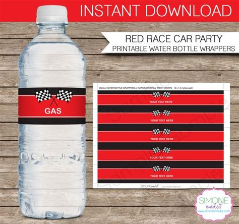 Race Car Party Water Bottle Labels Or Wrappers Instant Captain Label Template