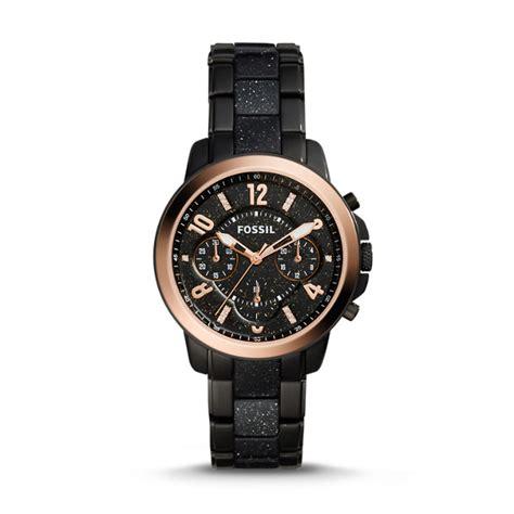 Fossil Mini Black Glitter gwynn chronograph black stainless steel and glitter