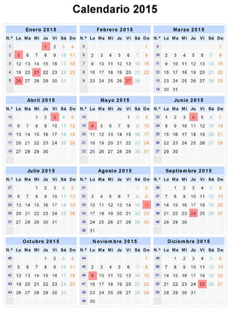 Calendario Bancario 2015 Calendario Bancario 2015 Finanzasdigital
