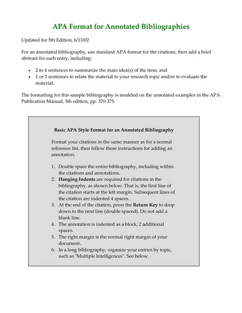 best photos of exle of annotated bibliography apa style