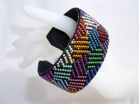triangle pattern rainbow loom bracelet a rainbow of triangles beaded cuff bracelet the