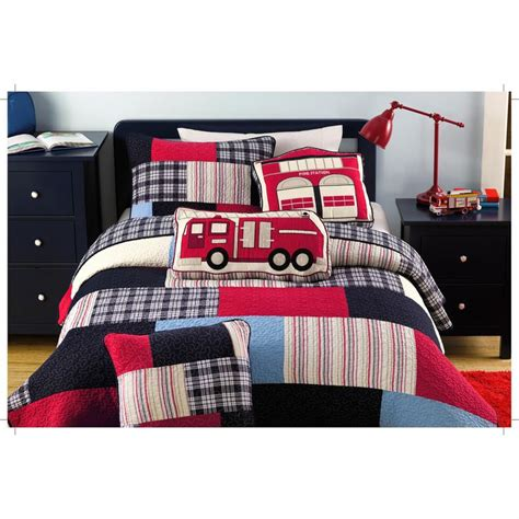 Boys Patchwork Bedding - bedding size pieced blue