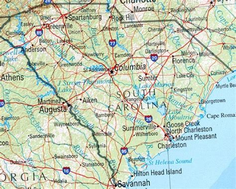 map of south carolina with cities related carolina maps and carolina satellite