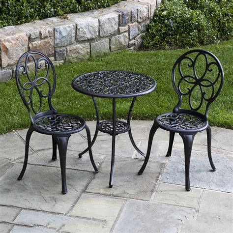 Outdoor Patio Tables And Chairs Alfresco Home 55 7401 Ch Fleur De Lis Cast Aluminum 23 1 2 Bistro Table Set In Charcoal
