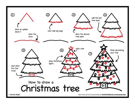 how to draw a christmas tree art for kids hub how to