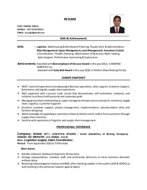 Store Incharge Resume by Resume Logistics