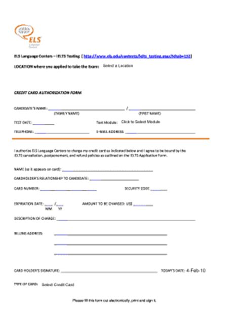 Credit Card Authorization Form Ielts Credit Ielts Fill Fill Printable Fillable Blank Pdffiller