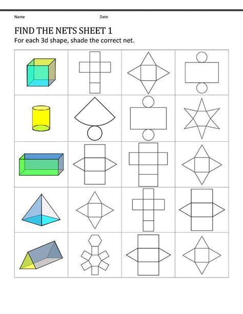 pattern shapes worksheet shape nets for easy 3d pattern shapes fancy stuff