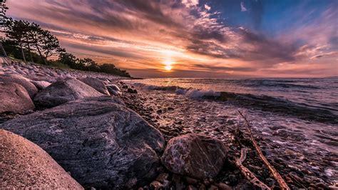 fonds decran danemark cote mer surf roches coucher