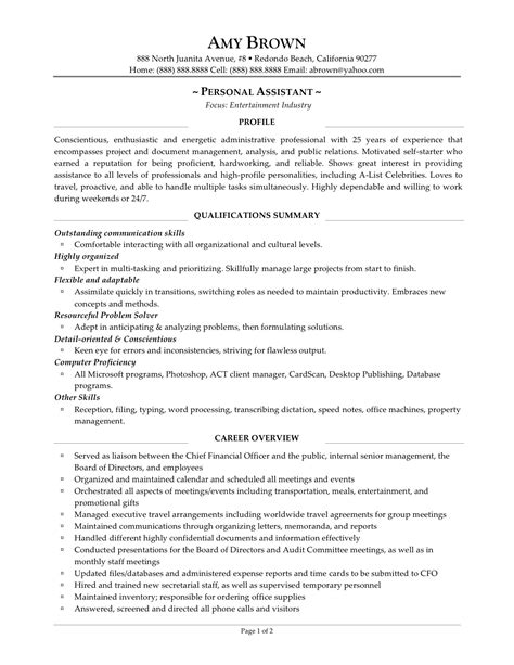personal objectives template resume for personal assistant executive sles free