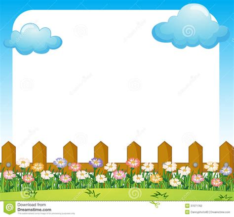 garden template an empty paper template with a garden and clouds stock