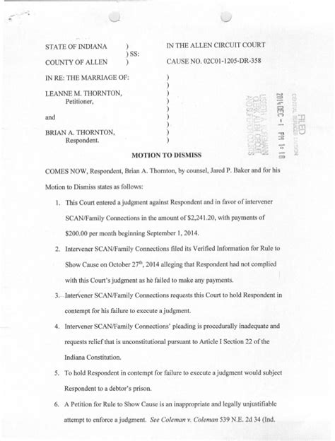 Allen County Indiana Court Search Motion To Dismiss 12114