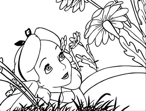 printable alice in wonderland flowers alice in the wonderland flower coloring pages wecoloringpage