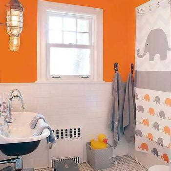 grey orange bathroom shared attic kids bathroom with vaulted ceiling and
