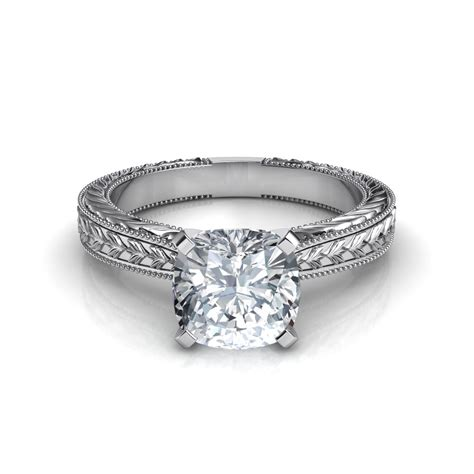 engraved cushion cut engagement ring