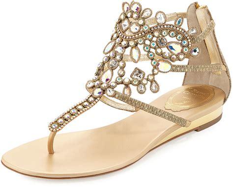 embellished flat sandals rene caovilla embellished leather flat sandal