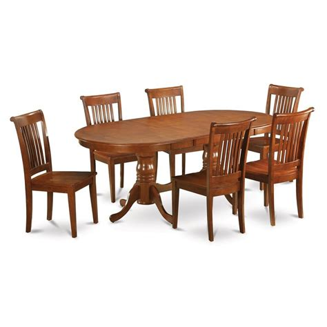 7pc portland oval kitchen dining shop east west furniture plainville saddle brown 7 dining set with oval dining table at