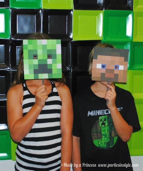 printable minecraft photo booth props how to create ultimate minecraft backdrop free template