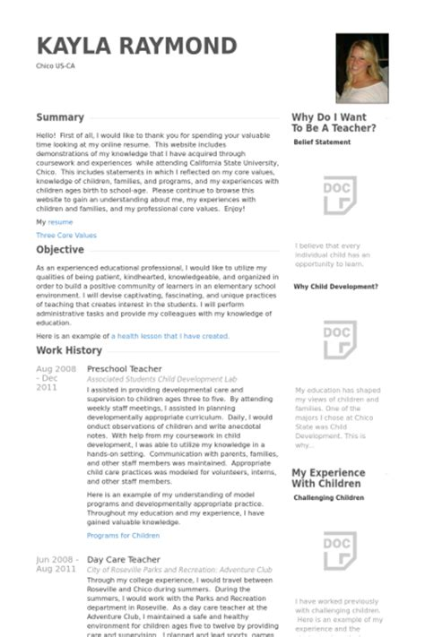 Resume Sles For Teachers Preschool Preschool Resume Sles Visualcv Resume Sles Database