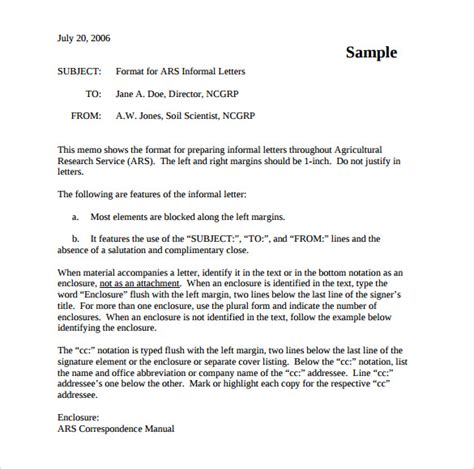 Un Official Letter Format Sle Informal Letter 7 Documents In Pdf Word
