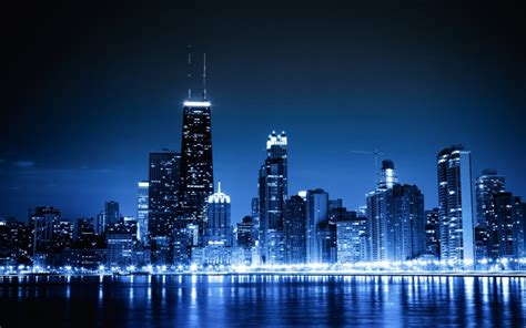 blue cityscapes chicago lights skyscrapers