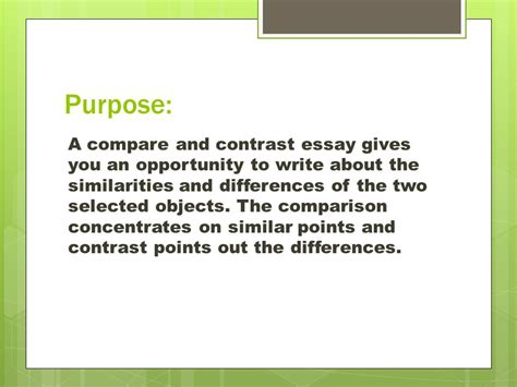 The Features Of A Compare And Contrast Essay Include by Compare Contrast Expository Essay Ppt