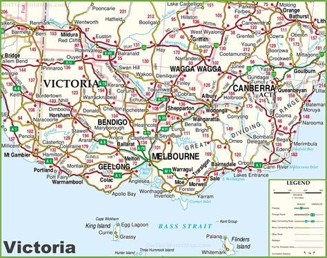 printable australian road maps large detailed map of victoria with cities and towns